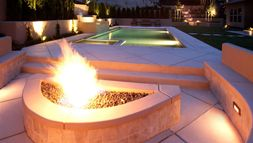 Propane heated pool and fire pit